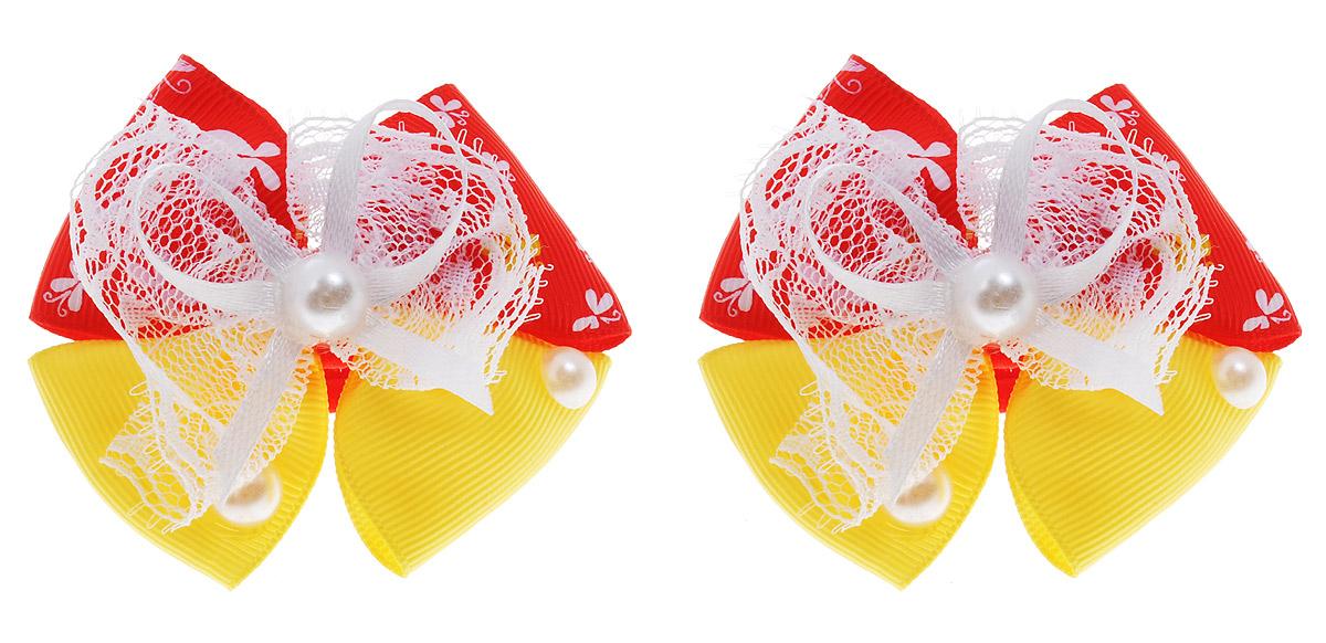 Babys Joy Резинка для волос цвет красный желтый 2 шт MN 133MN 133_ красный, желтыйРезинка для волос Babys Joy выполнена в виде текстильного банта, украшенного перламутровыми полубусинами и кружевной лентой. Резинка позволит убрать непослушные волосы с лица и придаст образу немного романтичности и очарования. Резинка для волос Babys Joy подчеркнет уникальность вашей маленькой модницы и станет прекрасным дополнением к ее неповторимому стилю. В наборе 2 резинки для волос.