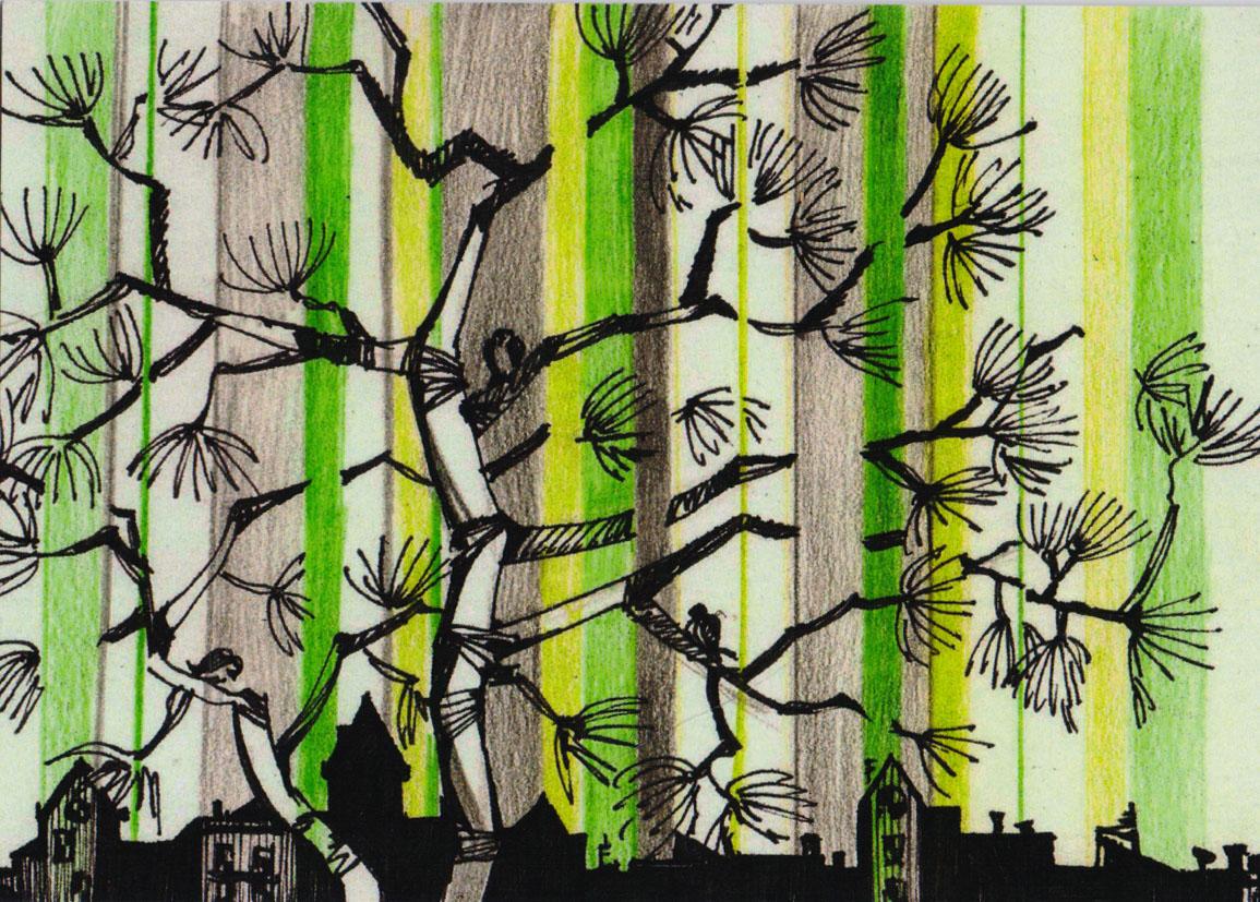 Открытка Городокpw0048Дизайнерская открытка. На лицевой стороне находится изображение города. Набросок, цветные карандаши. Автор рисунка - Анастасия Панкова. Размер открытки: 10.5 х 15 см.