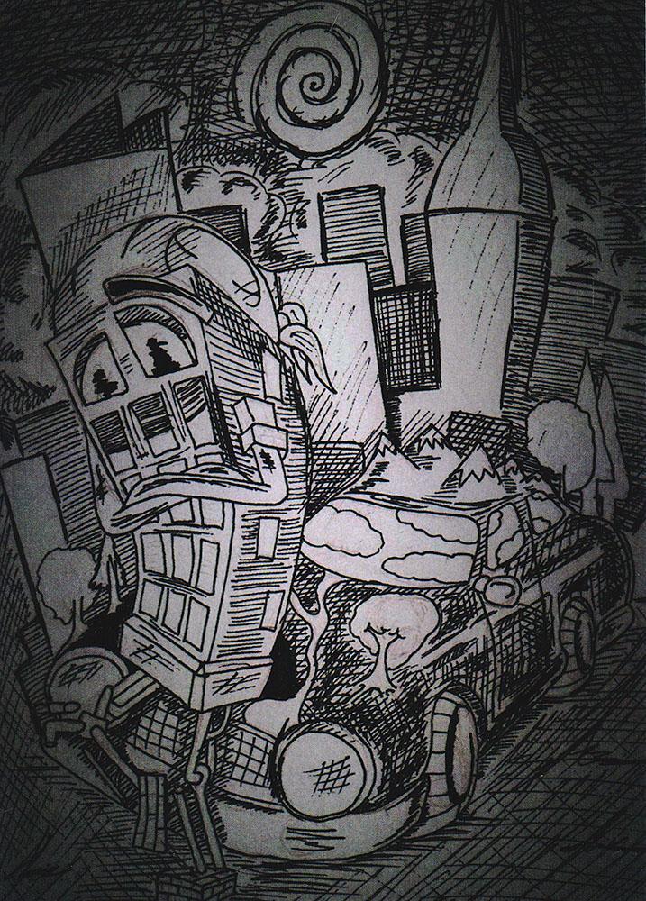 Открытка Цивилизацияpw0039Дизайнерская открытка. На лицевой стороне находится собирательный образ современной цивилизации. Набросок, скетч. Автор рисунка - Роман Рощин. Размер открытки: 10.5 х 15 см.
