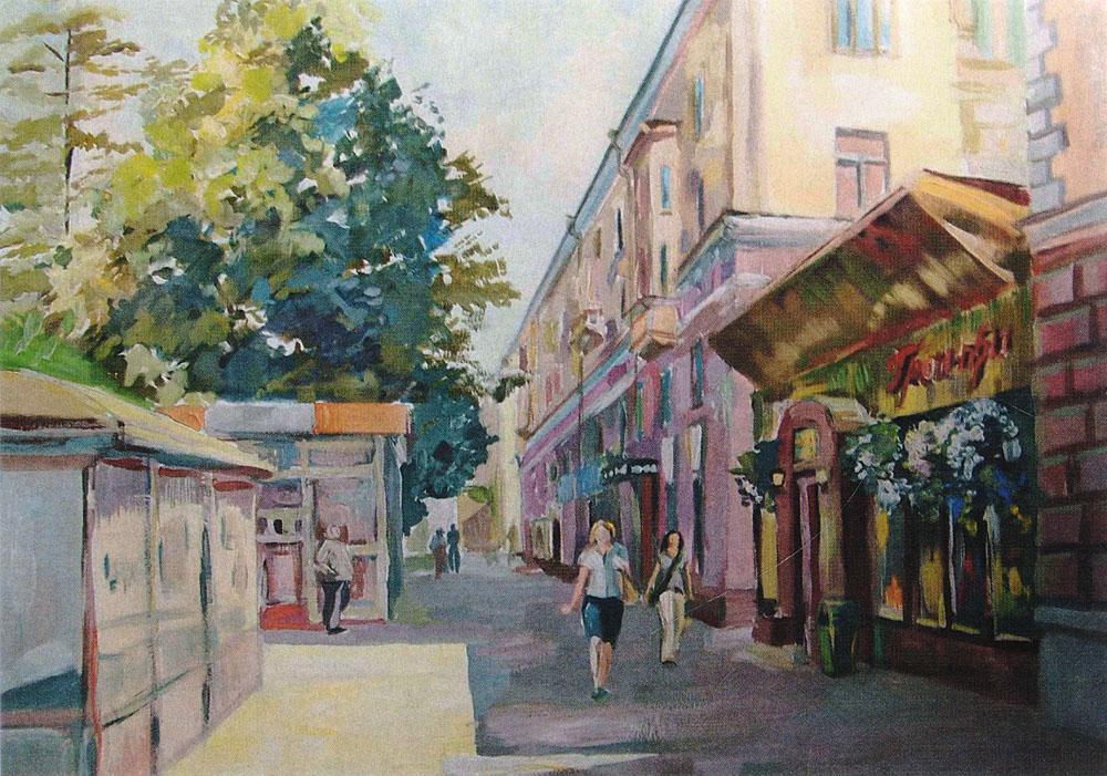 Открытка Полденьpw0040Дизайнерская открытка. На лицевой стороне находится изображение одной из улиц города Санкт-Петербурга. Работа краской. Автор рисунка - Анастасия Панкова. Размер открытки: 10.5 х 15 см.
