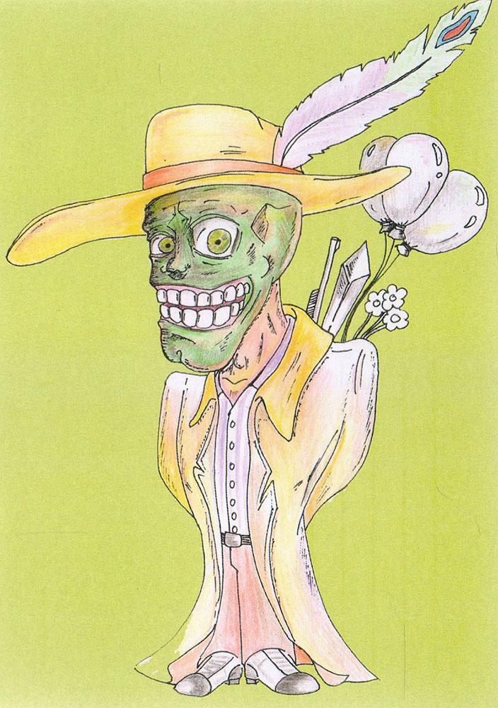 Маска. Открыткаpw0053Дизайнерская открытка. На лицевой стороне находится изображение персонажа из фильма Маска. Автор рисунка - Роман Рощин. Размер: 14.7 х 10.5 см.
