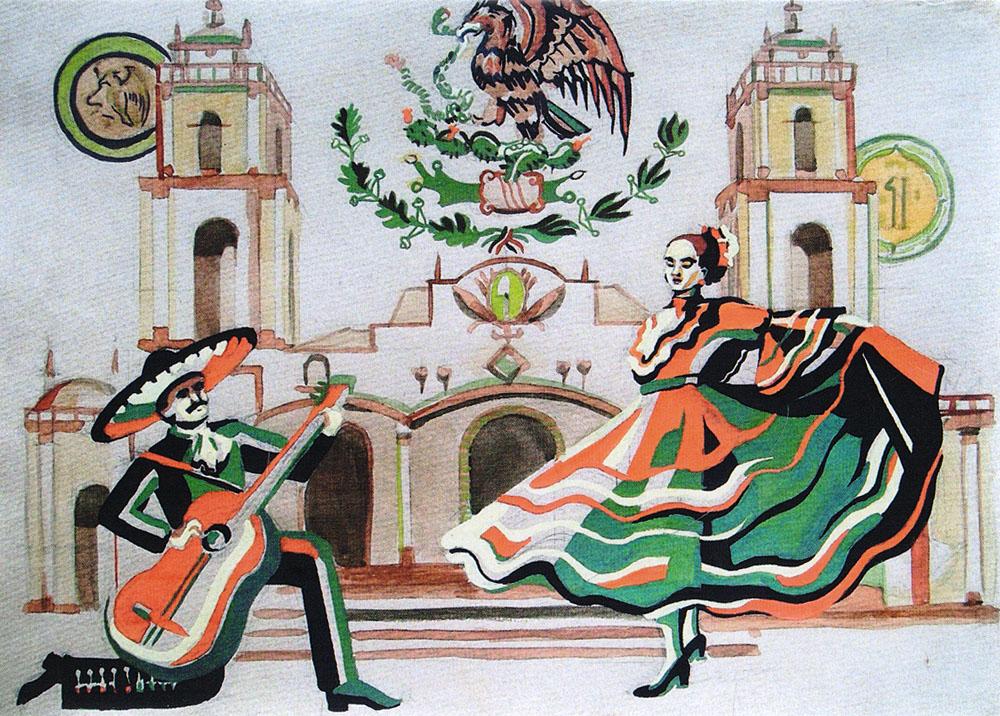 Серенада. Открыткаpw0042Дизайнерская открытка. На лицевой стороне находится изображение испанского квартала. Работа краской. Автор рисунка - Анастасия Панкова. Размер: 10.5 х 14.7 см.