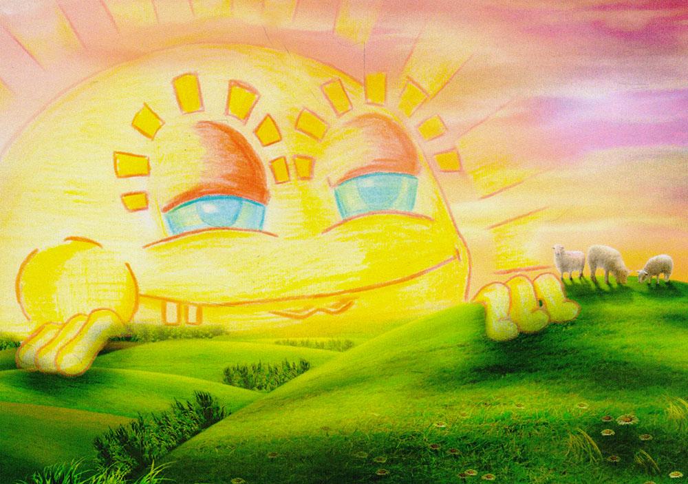 Открытка Закатpw0037Дизайнерская открытка. На лицевой стороне находится изображение солнца. Набросок, скетч. Автор рисунка - Роман Рощин. Размер открытки: 10.5 х 15 см.