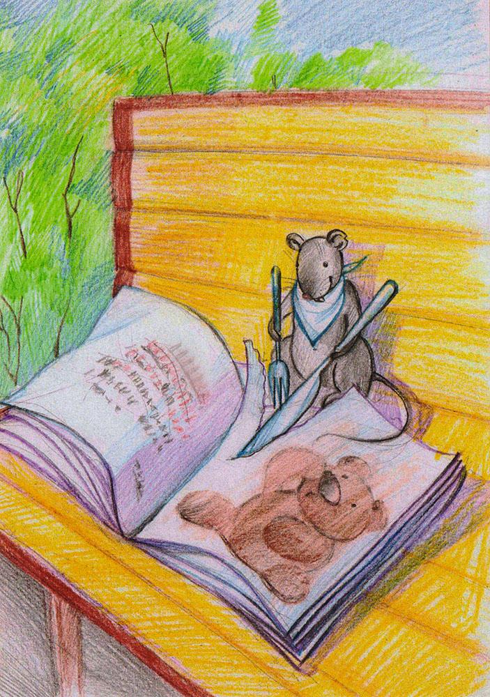 Открытка Обедpw0047Дизайнерская открытка. На лицевой стороне находится изображение мышки с книжкой. Набросок, цветные карандаши. Автор рисунка - Анастасия Панкова. Размер открытки: 10.5 х 15 см.