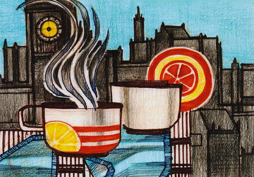 Открытка Завтракpw0050Дизайнерская открытка. На лицевой стороне находится абстрактное изображение завтрака. Набросок, карандаш. Автор рисунка - Анастасия Панкова. Размер открытки: 10.5 х 15 см.