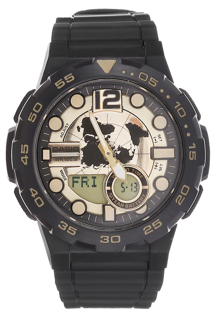 Часы наручные мужские Casio Collection, цвет: черный, золотой. AEQ-100BW-9AAEQ-100BW-9AМногофункциональные мужские часы Casio Collection, выполнены из минерального стекла, металлического сплава и полимерного материала. Корпус часов оформлен символикой бренда. Часы оснащены ударопрочным корпусом с электронно-механическим механизмом, имеют степень влагозащиты равную 10 BAR, а также дополнены устойчивым к царапинам минеральным стеклом. Браслет часов оснащен застежкой-пряжкой, которая позволит с легкостью снимать и надевать изделие. Корпус часов оснащен стрелками с светящимся составом. Дополнительные функции: таймер, будильник, функция повтора будильника, секундомер, функция мирового времени, автоматический календарь, отображение времени в 12-часовом или 24-часовом формате. Часы дополнены оригинальной и практичной функцией записная книжка, которая позволит сохранить 30 записей. Каждая запись может включать в себя текст из 8 букв и 12 цифр. Часы поставляются в фирменной упаковке. Многофункциональные часы Casio Collection подчеркнут отменное...