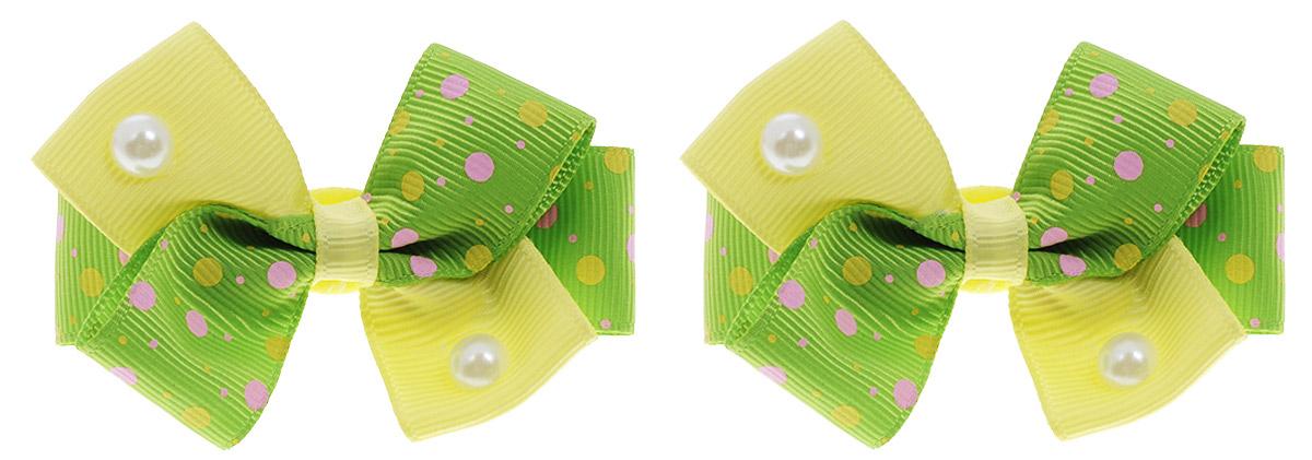 Babys Joy Резинка для волос Точки цвет зеленый желтый 2 штMN 121/2_зеленый, желтый/точкиРезинка для волос Babys Joy Точки выполнена в виде текстильного банта, украшенного перламутровыми полубусинами. Резинка позволит убрать непослушные волосы с лица и придаст образу немного романтичности и очарования. Резинка для волос Babys Joy подчеркнет уникальность вашей маленькой модницы и станет прекрасным дополнением к ее неповторимому стилю. В наборе 2 резинки для волос.