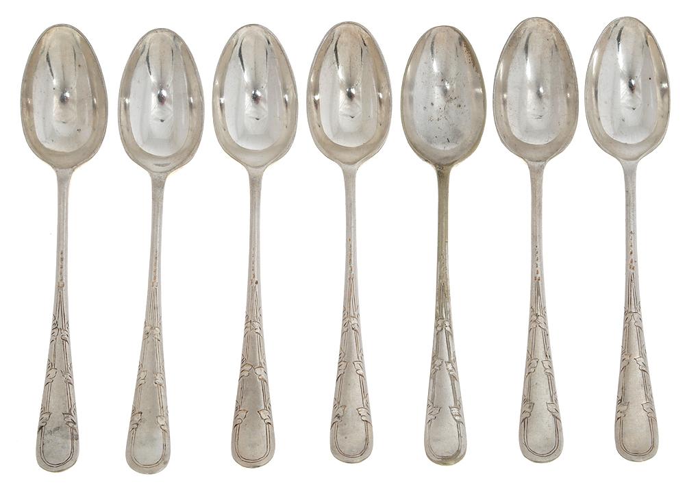 Набор кофейных ложек, 6 шт. Металл,серебрение. Alen & Darwin, Великобритания, конец ХIХ века