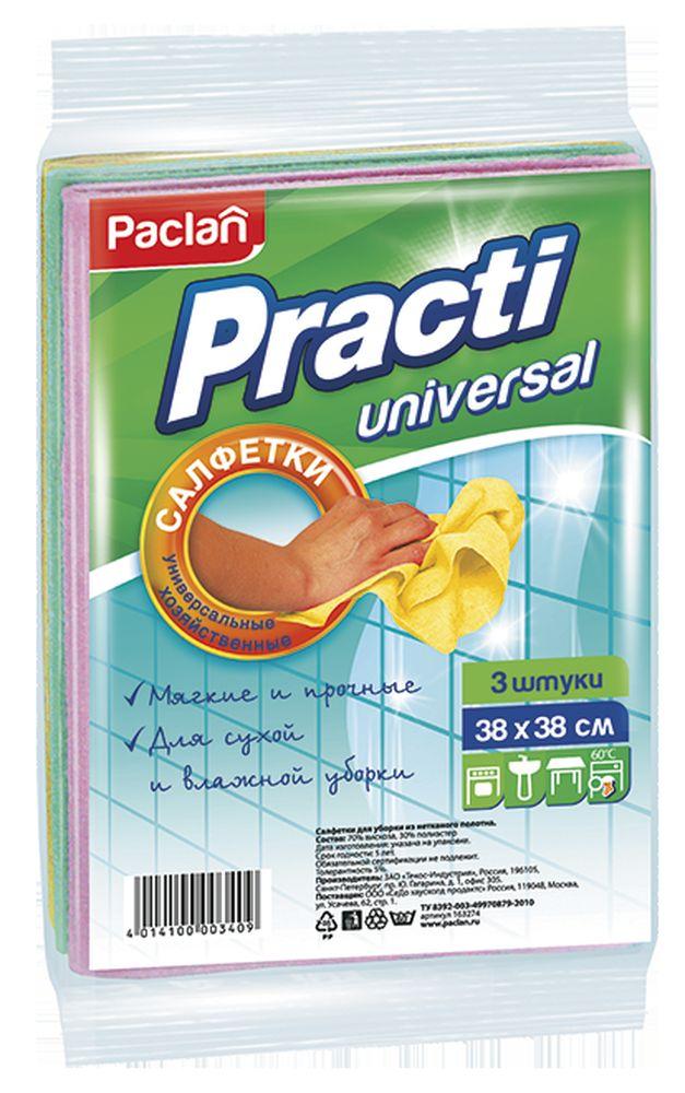Салфетки для чистки Paclan Practi, нетканное полотно, 38 х 38 см, 3шт163274/410018Салфетки универсальные мягкие и эластичные для влажной и сухой уборки.