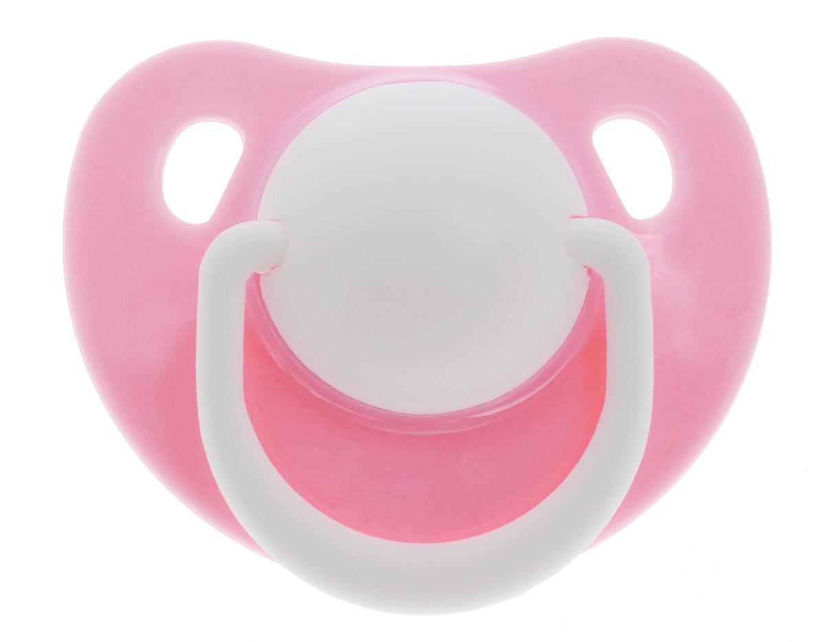 Lubby Пустышка силиконовая Классика от 0 месяцев цвет розовый ( 13956_розовый1 )