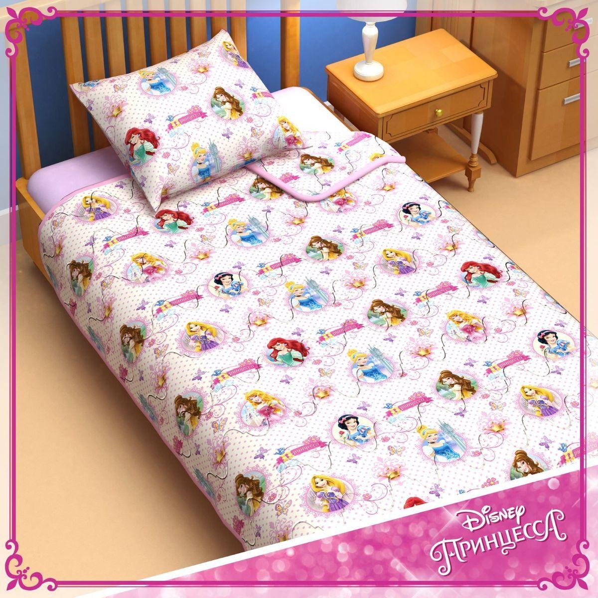 Disney Одеяло 1,5 спальное Принцессы 140 х 205 см 11531681153168Сказочные сны с любимыми принцессами Disney. Маленькая любительница мультфильмов Disney будет в восторге от этого очаровательного одеяла нежно розового цвета с надписями на русском языке! Оно подарит крохе сны, полные волшебства, и по-настоящему доброе утро. Почему? Потому что одеяло изготовлено в России на современном оборудовании, а при нанесении рисунка использовались только качественные европейские красители. Над дизайном работала команда настоящих мастеров своего дела: очаровательные персонажи мультфильмов, детально проработанная картинка, гармоничное сочетание цветов — всё это результат их кропотливой работы. В качестве наполнителя для изделия используется файбер — практичный, безопасный и мягкий материал. Именно поэтому одеяло: поддерживает комфортную температуру тела во время сна; не способствует появлению аллергии и раздражения; позволяет коже дышать и впитывает влагу; хорошо переносит многочисленные стирки, сохраняя...