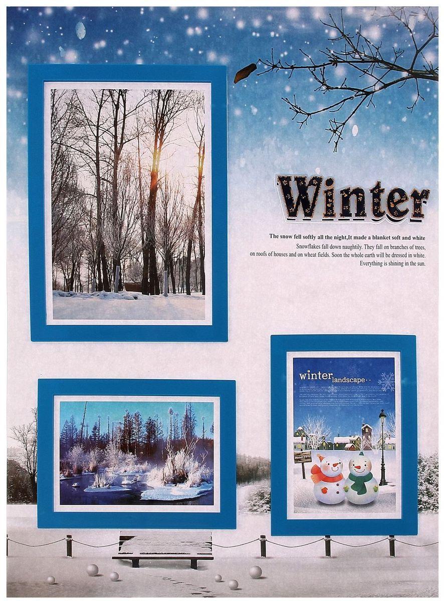 Наклейка Фоторамка Зима на 3 фото 10х15 см 13х18 см 53,5х35 см