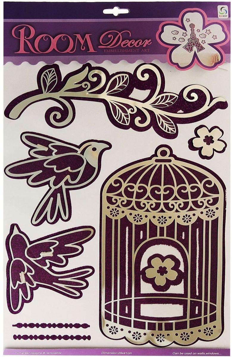 Наклейка зеркальная Клетка с птицами с блестками 49х29 см