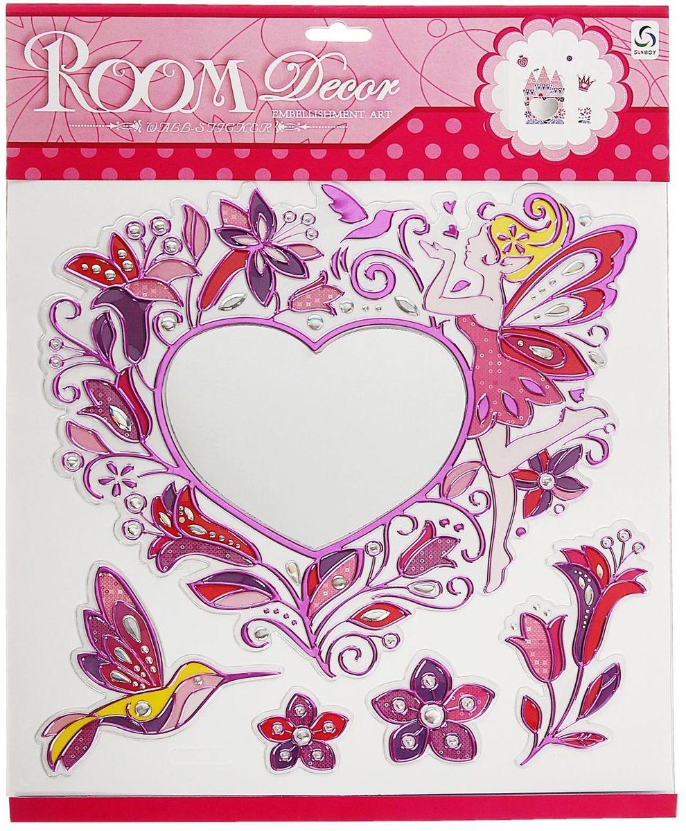 Room Decoration Наклейка зеркальная Феечка и сердце