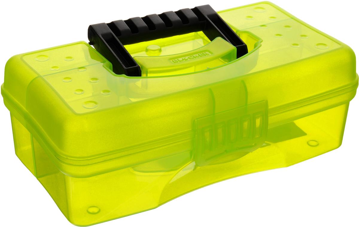 Органайзер Blocker Hobby Box, цвет: салатовый, черный, 23,5 х 13 х 8 смBR3750_салатовый,прозрачныйОрганайзер Blocker Hobby Box изготовлен из высококачественного прочного пластика и предназначен для хранения и переноски небольших инструментов, рыболовных принадлежностей и различных мелочей. Оснащен 4 секциями. Надежно закрывается при помощи пластмассовой защелки. На крышке имеется ручка для удобной переноски изделия. Размер самой большой секции: 22,5 х 7 х 5,5 см. Размер самой маленькой секции: 6,5 х 4,5 х 5,5 см.