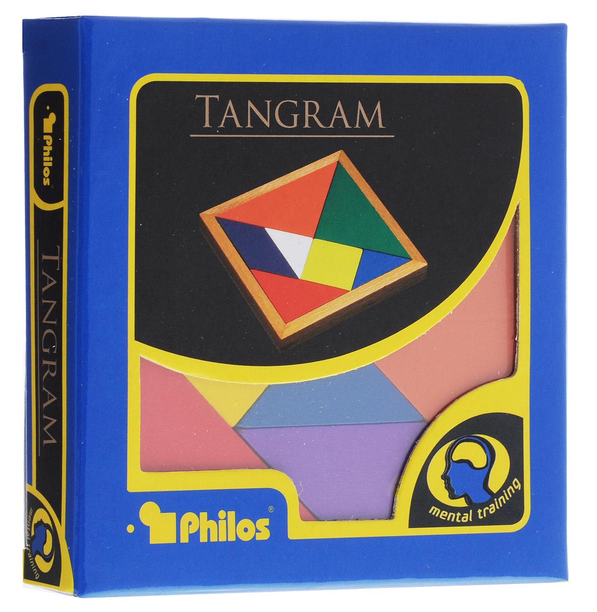 Philos Настольная игра Танграм4014156035201Настольная игра Philos Танграм - это головоломка, состоящая из семи плоских фигур, которые складывают определённым образом для получения другой, более сложной фигуры (изображающей человека, животное, предмет домашнего обихода, букву или цифру и т. д.). Фигура, которую необходимо получить при этом, обычно задаётся в виде силуэта или внешнего контура. При решении головоломки требуется соблюдать два условия: первое - необходимо использовать все семь фигур танграма, и второе - фигуры не должны перекрывать друг друга. Состав игры: деревянная основа для головоломки, 7 деталей головоломки, схематичный буклет с заданиями.