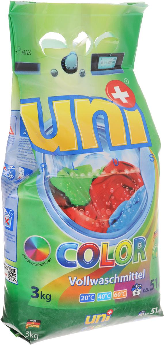 Порошок стиральный Uniplus Color, для цветных вещей, 3 кг200711Cтиральный порошок Uniplus Color предназначен для стирки цветных изделий из хлопчатобумажных, льняных, синтетических тканей и тканей из смешаннх волокон, тонких и быстролиняющих изделий. В состав входят цветозащитные компоненты, сохраняющие яркость цветов. Эффективно отстирывает при температурах от 20° С до 60°С. Содержит смягчающие воду вещества, защищающие машину т образования известкового налета. Не содержит хлора и фосфатов. Подходит для всех типов стиральных машин и ручной стирки. Состав: (5-15%) анионные ПАВ, цеолиты, (менее 5%) неионогенные ПАВ, мыло, фосфонаты, стабилизатор цвета, энзимы, ароматизатор. Товар сертифицирован.