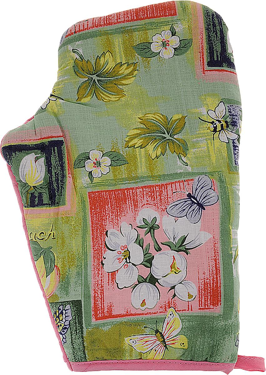 Варежка-прихватка Home Queen Цветы и бабочки, 17 х 27 см57377_розовый, зеленый, цветыВарежка-прихватка Home Queen Цветы и бабочки - незаменимый помощник на любой кухне. Варежка выполнена из натурального 100% хлопка и оформлена красивым рисунком. Задняя сторона простегана, что позволяет наполнителю не скатываться со временем. Варежка мягкая, удобная и практичная. С ее помощью можно доставать горячие противни из духовки, она защитит ваши руки и предотвратит появление ожогов. Красочный дизайн позволит красиво дополнить интерьер кухни. С помощью петельки варежку можно подвесить на крючок.