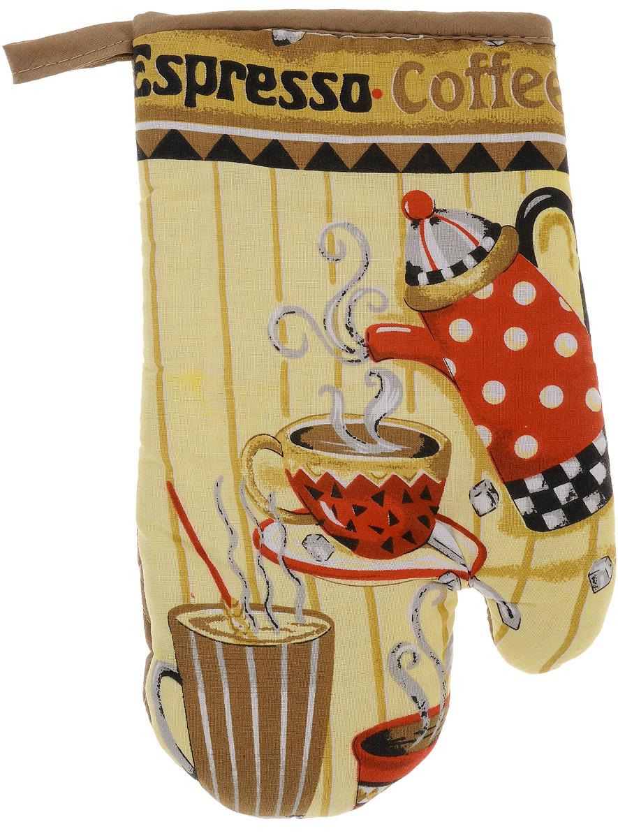 Варежка-прихватка Home Queen Espresso, 17 х 27 см57377_экспрес кофе, коричневый, желтыйВарежка-прихватка Home Queen Espresso - незаменимый помощник на любой кухне. Варежка выполнена из натурального 100% хлопка и оформлена красивым рисунком. Задняя сторона простегана, что позволяет наполнителю не скатываться со временем. Варежка мягкая, удобная и практичная. С ее помощью можно доставать горячие противни из духовки, она защитит ваши руки и предотвратит появление ожогов. Красочный дизайн позволит красиво дополнить интерьер кухни. С помощью петельки варежку можно подвесить на крючок.
