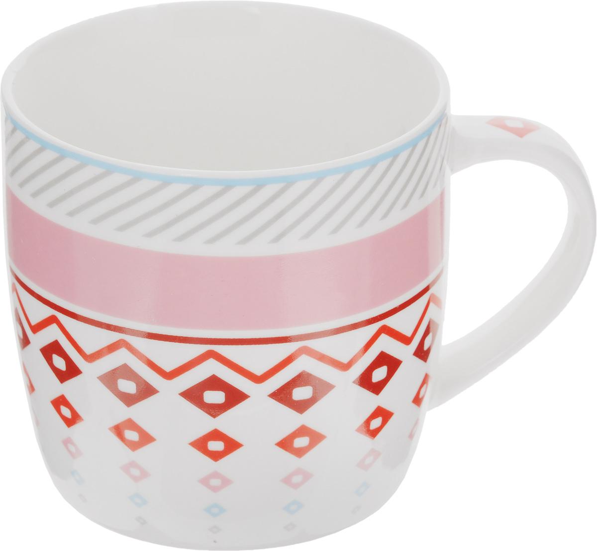Кружка Loraine, 320 мл. 2448424484_розовый, белыйКружка Loraine выполнена из высококачественного костяного фарфора и украшена ярким узором. Изделие оснащено эргономичной ручкой. Кружка сочетает в себе оригинальный дизайн и функциональность. Она согреет вас долгими холодными вечерами. Диаметр (по верхнему краю): 8,2 см. Высота кружки: 8,2 см. Объем: 320 мл.