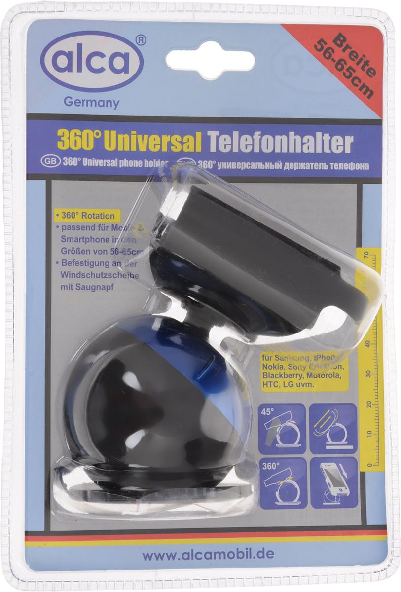 Держатель для телефона Alca, на присоске, цвет: черный, синий528000_синийУниверсальный держатель Alca с боковыми зажимами подходит для большинства мобильных телефонов/КПК/GPS/MP4. Спецификация: Основание крепится к любой гладкой поверхности (лобовое стекло, приборная панель, средняя консоль) посредством вакуумной присоски. Держатель можно поворачивать в любом нужном направлении на 360° при угле наклона 45°. Зажимы позволяют надежно и быстро закрепить портативное устройство. Держатель подходит для портативных устройств от 56 до 65 мм. Диаметр присоски: 6 см.