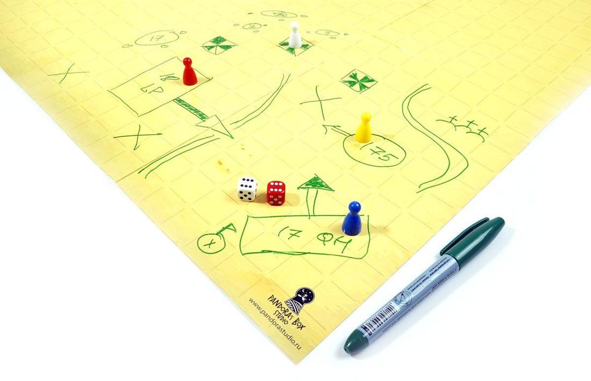 Pandoras Box Игра-бродилка Создай свое приключение 2 кубика 4 фишки07PB008В комплект входит: - Прямоугольное, раскладное, одностороннее игровое поле, произведенное из прочного ламинированного картона. Размер поля: 22''х 28'' (558,8 мм х 711,2 мм). Одна сторона: разметка квадратами размером 25мм на 25мм. Другая сторона: белый ламинированный лист; - 2 шестигранных кубика; - 4 фишки; - маркер для нанесения приключения (На поверхности поля необходимо рисовать неперманентным маркером на водной основе, что позволит стирать рисунки без следа). - инструкция. Игра формата «бродилка» имеет свои плюсы и минусы. Главный минус бродилок-они быстро надоедают. С нашим набором - это становится невозможно! Бесконечное количество тем, которые вы можете подобрать ребенку в зависимости от задач обучения: и космические просторы, и пиратские приключения, и приключение в мир математики, английского языка и прочее, прочее, прочее. Итак, как же создать игру бродилку! Мы приведем ниже шаги, которые сориентируют вас: Шаг 1. Выберите тему...