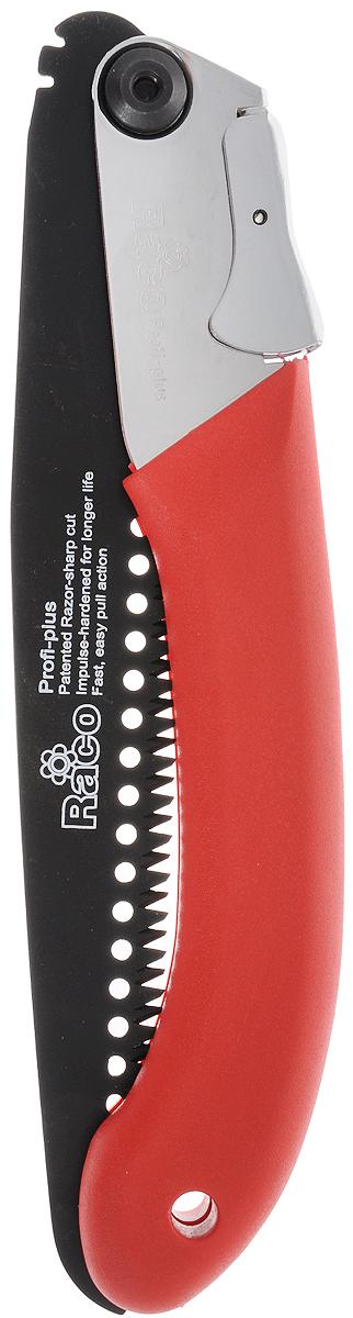 Пила садовая Raco Profi-plus, складная, длина лезвия 25 см4216-52/517LСкладная садовая пила Raco Profi-plus применяется для пиления сырой и сухой древесины. Импульсная закалка и трехсторонняя компьютерная заточка зубьев гарантируют долгий срок службы. Закаленное полотно из высококачественной стали имеет покрытие RACO-Hitekflon, обеспечивающее надежную защиту от коррозии. Улучшенная запатентованная технология Racotek Cut минимизирует усилия, затрачиваемые в процессе работы. Прочная металлическая ручка имеет эргономичную форму и мягкое виниловое покрытие, что обеспечивает продолжительную работу без усталости. Фиксация открытого полотна осуществляется в одном из двух возможных положений, что создает дополнительное удобство в работе. Общая длина пилы: 50 см. Длина лезвия: 25 см.