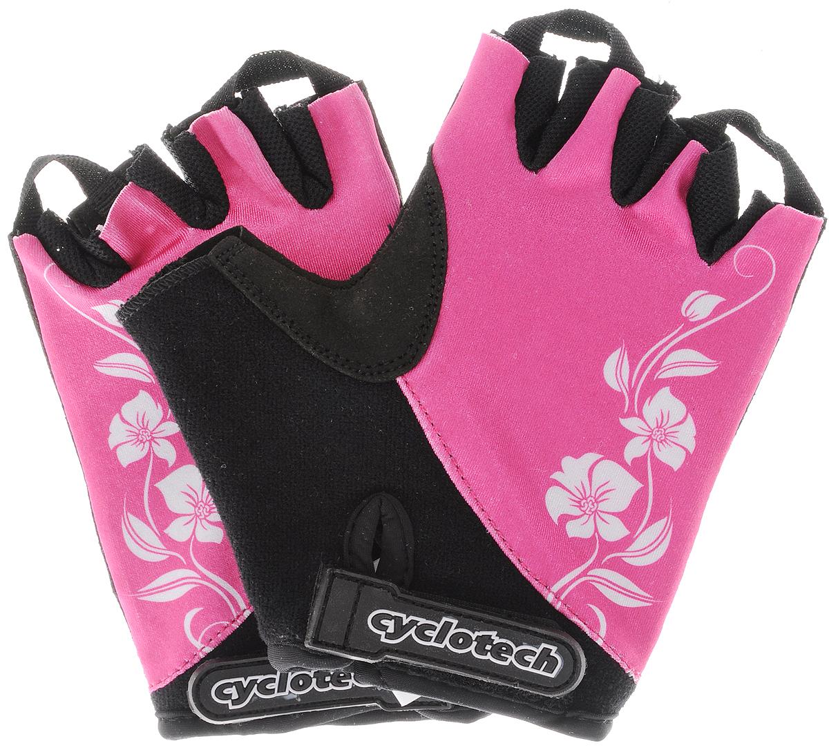 Велоперчатки Cyclotech, цвет: черный, розовый, белый. Размер MCANNA-PMПрочные и удобные велоперчатки Cyclotech выполнены из высококачественного полиамида, эластана и хлопка. Ладони оснащены мягкими вставками. Застежка надежно фиксирует перчатки на руке. Перчатки хорошо вентилируются, не дают руке скользить на руле и частично гасят неприятные вибрации.
