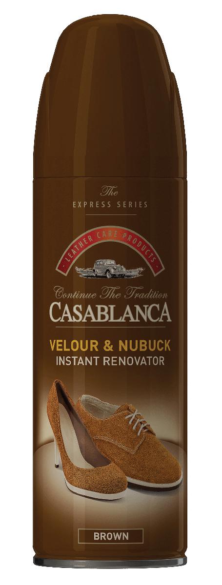 Спрей для замши/нубука Casablanca, цвет: коричневый 250мл1309Восстановитель для замши и нубука обладает приятным запахом, имитирующим новую кожу. Возвращает отличный внешний вид. Восстанавливает цвет. Питает. Очищает. Защищает от воздействия окружающей среды.