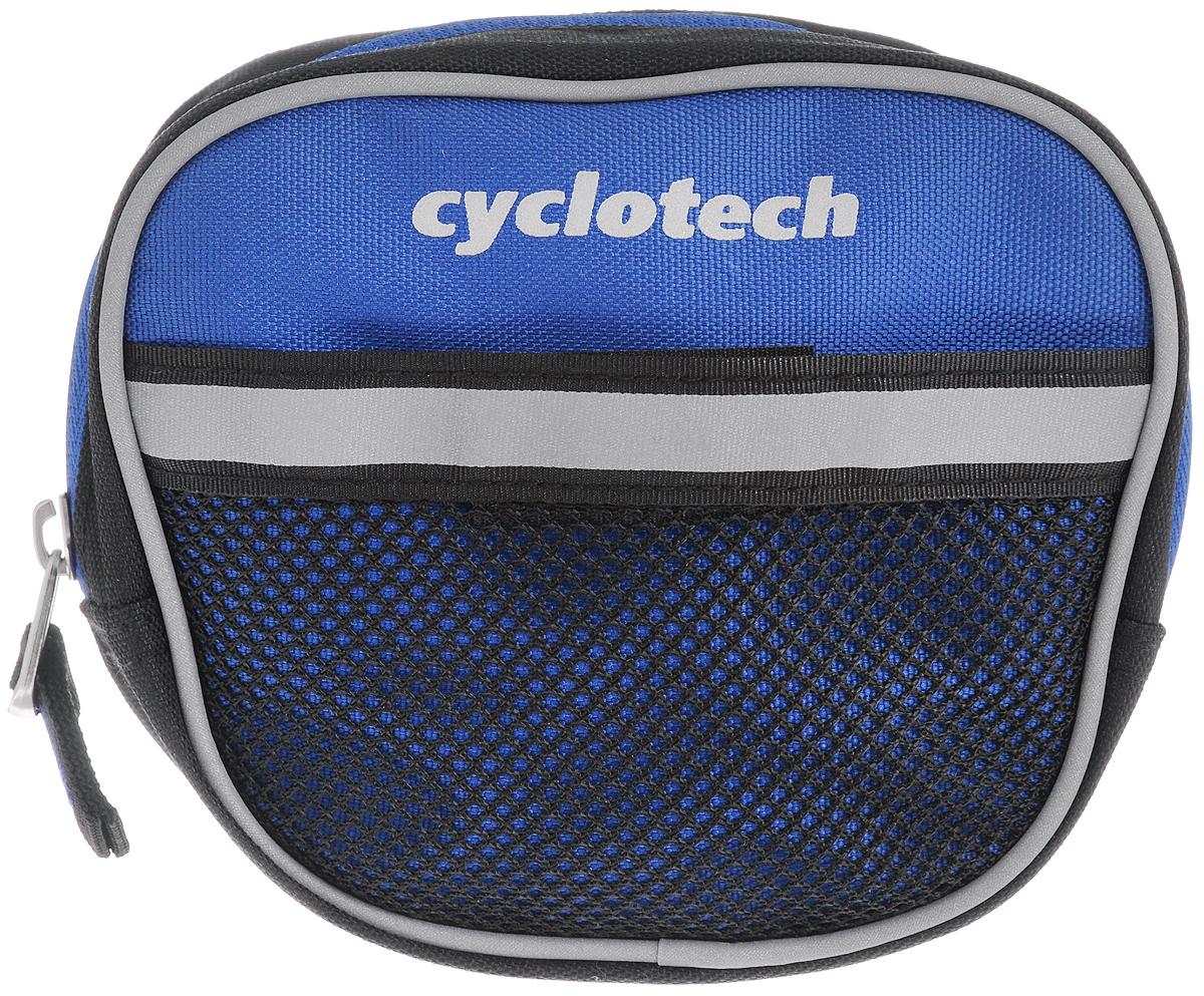 Велосумка на руль Cyclotech, цвет: синий, черный, серыйCYC-7BВелосипедная сумка Cyclotech выполнена из высококачественного прочного полиэстера. В ней можно перевозить инструменты, ключи и другие небольшие личные вещи. Сумка оснащена светоотражающей полосой, что повышает вашу безопасность на дорогах. Сумка закрепляется на руле при помощи 3 липучек. Изделие оснащено 1 отделением на застежке-молнии. На передней части расположен сетчатый кармашек, закрывающийся на липучку.