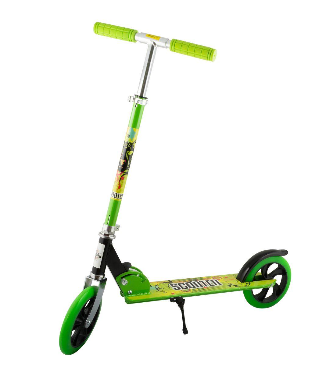 Самокат 2-колесный SC-02 (200 мм), цвет: зеленыйУТ-00008335Самокат 2-х колесный SC-02 (200 мм) - это двухколесная модель с колесами 200-мм для взрослых и детей. Эргономичные резиновые грипсы. Телескопический руль. Удобная система складывания. Алюминиевая дека. Металлический тормоз. Полиуретановые 200-мм колеса. Подножка для устойчивости самоката. Подшипники ABEC 7 для быстрой и плавной езды. Технические характеристики: Дека: алюминий Ручки: резина Руль: алюминий Материал колеса (внутр): полипропилен Материал колеса (внешний): полиуретан Регулировка руля: есть Система складывания: есть Размер колеса, мм: 200 Подшипники: Abec-7 Цвет: зеленый Вес, гр: 3350 Производство: КНР