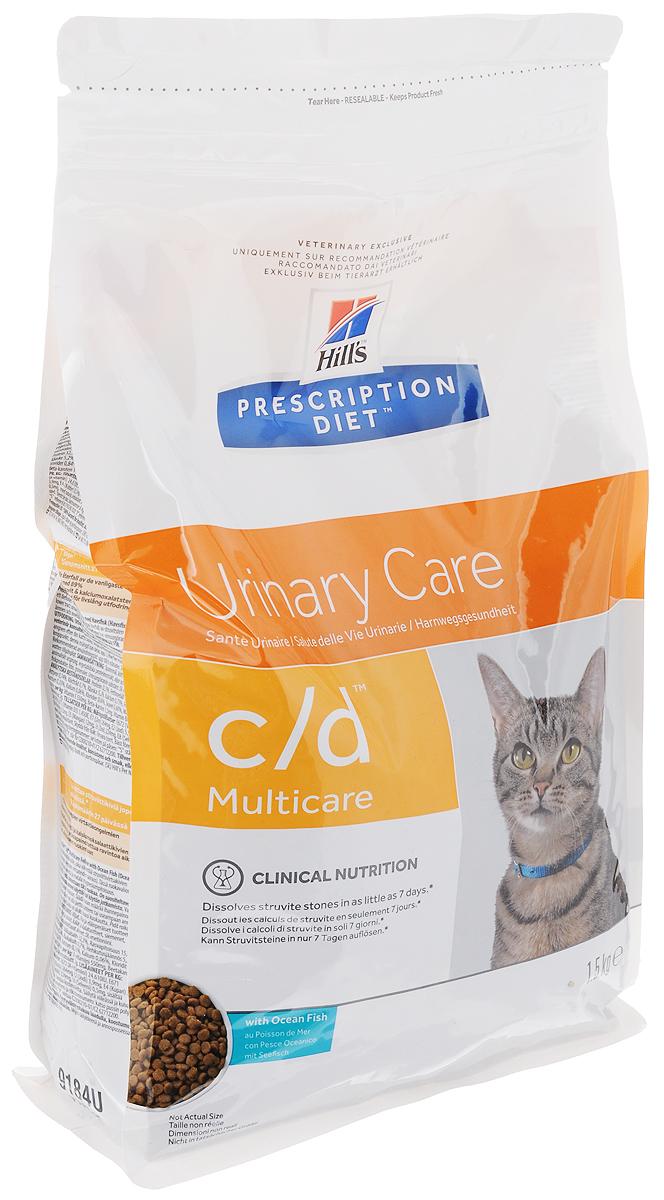 Корм сухой диетический Hills C/D для кошек, профилактика МКБ и растворение струвитов, с океанической рыбой, 1,5 кг9184Сухой корм для кошек Hills C/D - полноценный диетический рацион для кошек. Рекомендован при урологическом синдроме кошек склонных к набору веса (для снижения вероятности рецидивов струвитного уролитиаза). Рацион обладает закисляющими мочу свойствами и содержит умеренный уровень магния. Растворяет струвитные уролиты уже через 7 дней и предотвращает рецидивы заболевания. Состав: злаки, мясо и производные животного происхождения, экстракты растительного белка, масла и жиры, минералы, рыба и рыбные производные, семена, минералы. Анализ: белок 32,3%, жир 15%, омега-3 0,74%, клетчатка 0,7%, зола 5,2%, кальций 0,73%, фосфор 0,67%, натрий 0,33%, калий 0,06%, хлориды 0,84, сера 0,68%, магний 0,06%. На кг: витамин Е 550мг, бета-каротин 1,5 мг, витамин B6 26 мг, цитрат калия 2 мг. Добавки на кг: витамин А 24610 МЕ, витамин D3 1450 МЕ, железо 264 мг, йод 3,9 мг, медь 33,5 мг, марганец 12 мг, цинк 224 мг, селен 0,5 мг. Товар...