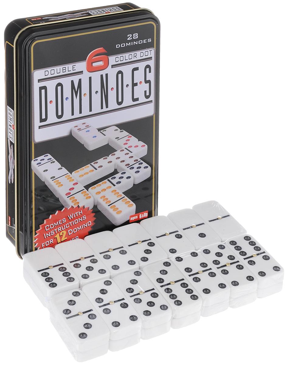 Домино Компания Игра Дорожное, размер: 19,5х12х3,5 см. 71627162Домино Дорожное - классическая игра в необычном оформлении. В наборе 28 костей, выполненных из пластика белого цвета. Кости домино хранятся в подарочной жестяной коробке. Компактные размеры игрового набора позволяют взять его с собой в поездку. Домино - игра, в процессе которой выстраивается цепь костяшек (костей, камней), соприкасающихся половинками с одинаковым числом очков. Костяшка домино представляет собой прямоугольную плитку, лицевая сторона которой разделена линией на две квадратные части. Каждая часть содержит от нуля до шести точек. Играют от двух до четырех человек. Для двух сдают по семь костяшек, для трех или четырех - по пять. Остальные размещаются в закрытом резерве (базаре). Начинает игрок, у которого на руках находится дубль шесть (6-6). Следующие игроки выставляют костяшки с соответствующими очками (6-1; 6-2; 6-3…). Если подходящих костяшек нет, их приходится добирать из резерва. Если ни у кого из игроков нет на руках дубля 6-6, можно начать...