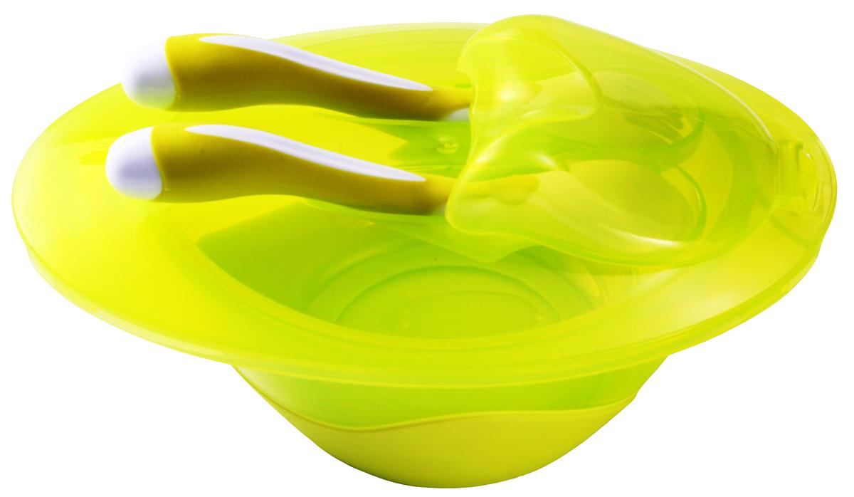 BabyOno Тарелочка с ложечкой и вилочкой1026Тарелочка с крышкой, ложкой и вилкой BabyOno - это удобная посуда для вашего крохи. В ней легко можно хранить еду в холодильнике, а также кормить малыша. На крышке имеется специальное отделение для ложечки и вилочки, что позволит легко и компактно использовать набор в поездках.