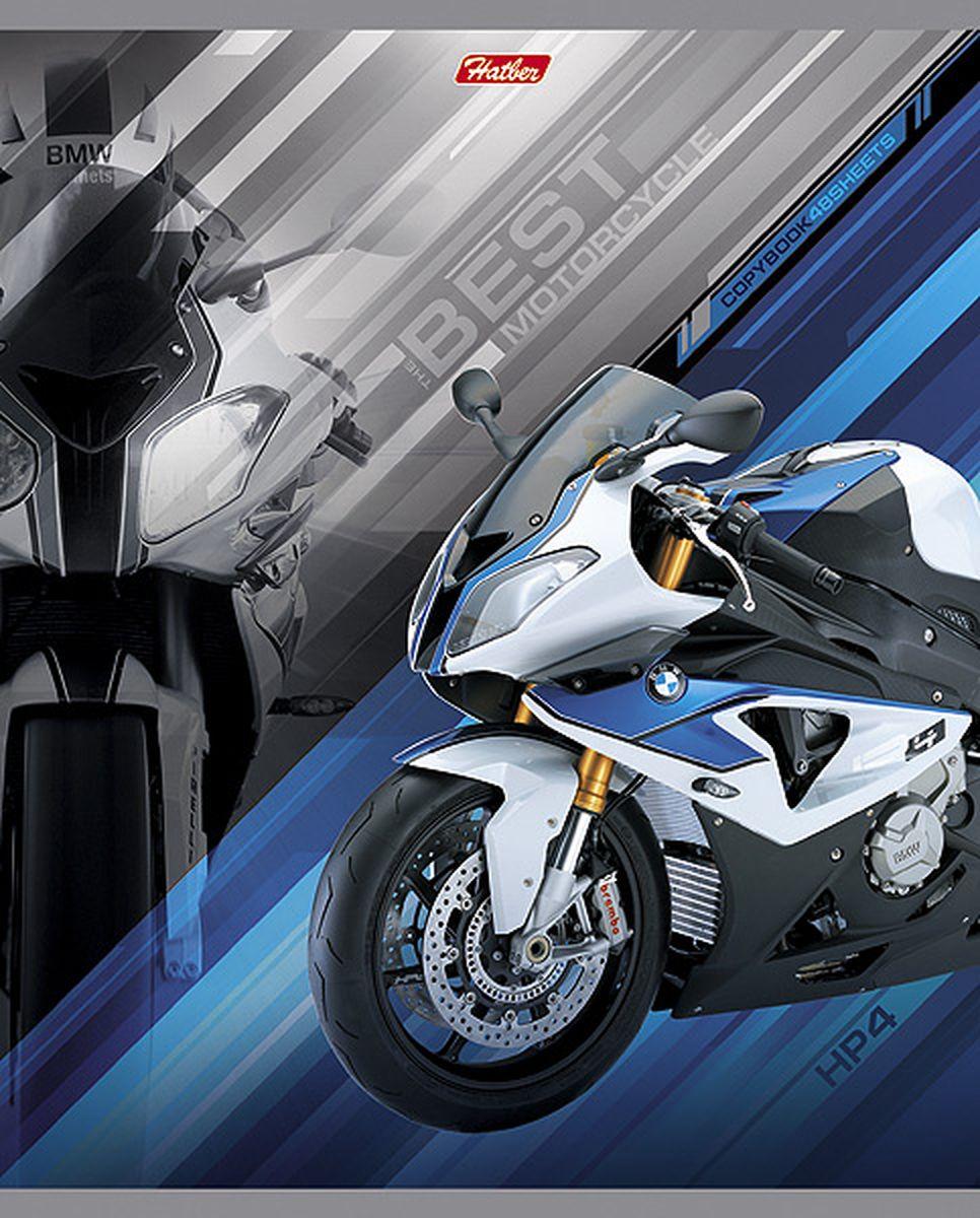Hatber Тетрадь Спортивные мотоциклы 48 листов в клетку цвет синий
