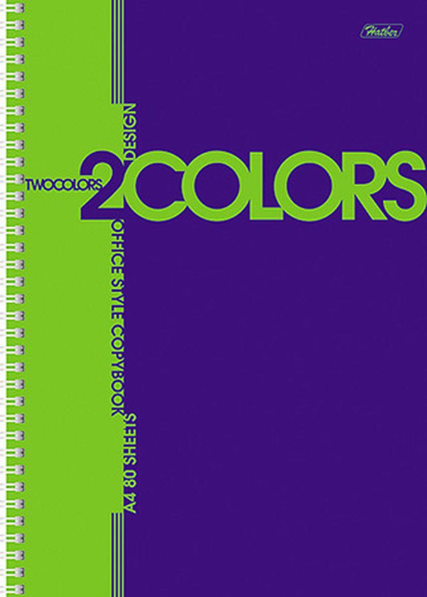 Hatber Тетрадь 2Colors 80 листов в клетку цвет синий салатовый80Т4В1грТетрадь Hatber 2Colors подойдет для школьников и студентов. Двухцветная обложка, выполненная из мелованного картона, позволит сохранить тетрадь в аккуратном состоянии на протяжении всего времени использования. Внутренний блок тетради, соединенный посредством спирали, состоит из 80 листов белой бумаги. Стандартная линовка в клетку. Особой изюминкой является наличие многоуровневой перфорации, что позволяет подшивать листы в папки.