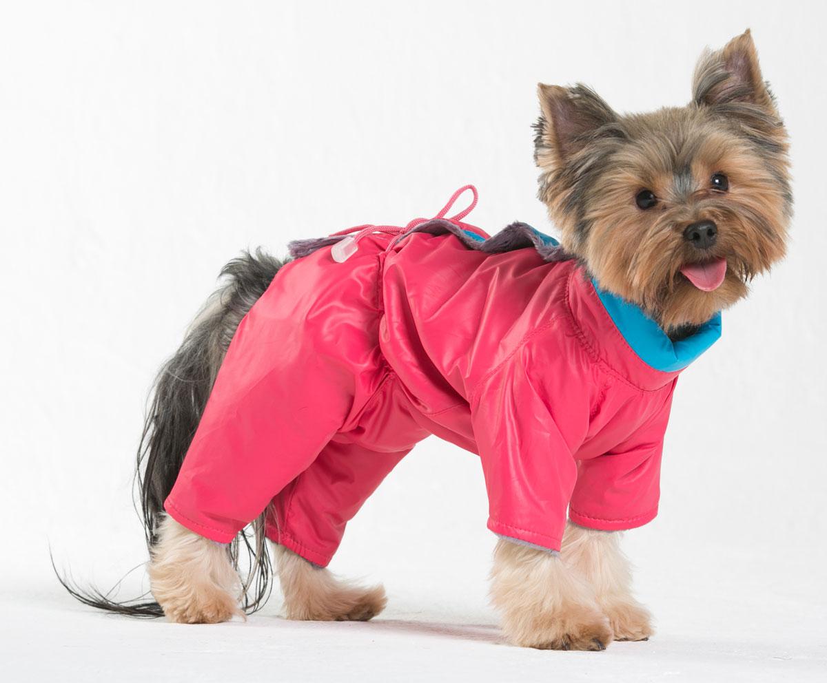 Комбинезон для собак Yoriki Флирт, для девочки, цвет: розовый. Размер S211-21Комбинезон для собак Yoriki Флирт отлично подойдет для прогулок в прохладную погоду осенью или весной. Верх комбинезона выполнен из водоотталкивающего полиэстера. Подкладка изготовлена из искусственного меха. Застегивается комбинезон на спине на кнопки и дополнительно на пояснице затягивается шнурком. Благодаря такому комбинезону вашему питомцу будет комфортно наслаждаться прогулкой. Обхват шеи: 20-24 см. Длина по спинке: 21 см. Объем груди: 29-36 см.