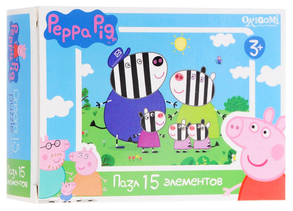 Оригами Мини-пазл Peppa Pig Зебры 01593AST000000000181837_зебраМини-пазл Оригами Peppa Pig. Зебры - это хороший способ в ненавязчивой форме развивать у ребёнка мелкую моторику рук, пространственное мышление. Детали пазла изготовлены из плотно спрессованного картона, а верхний слой представлен заламинированной картинкой с красочным изображением героев мультсериала Свинка Пеппа. Размер собранного пазла: 13 см х 18 см.