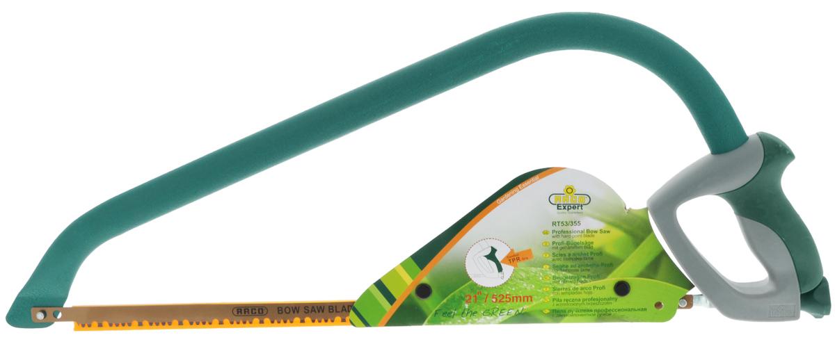 Пила лучковая Raco, садовая, длина полотна 52,5 см4216-53/355Усиленная легкая лучковая пила Raco применяется для обрезки деревьев и продолжительного пиления. Изделие оснащено удобной двухкомпонентной рукояткой с защитой от скольжения, покрытой термопластической резиной TPR. Стальной усиленный корпус имеет овальный профиль. Полотно остро заточено. Натяжение полотна регулируется. Полотно легко заменяется. Длина полотна: 52,5 см. Общая длина пилы: 66 см.