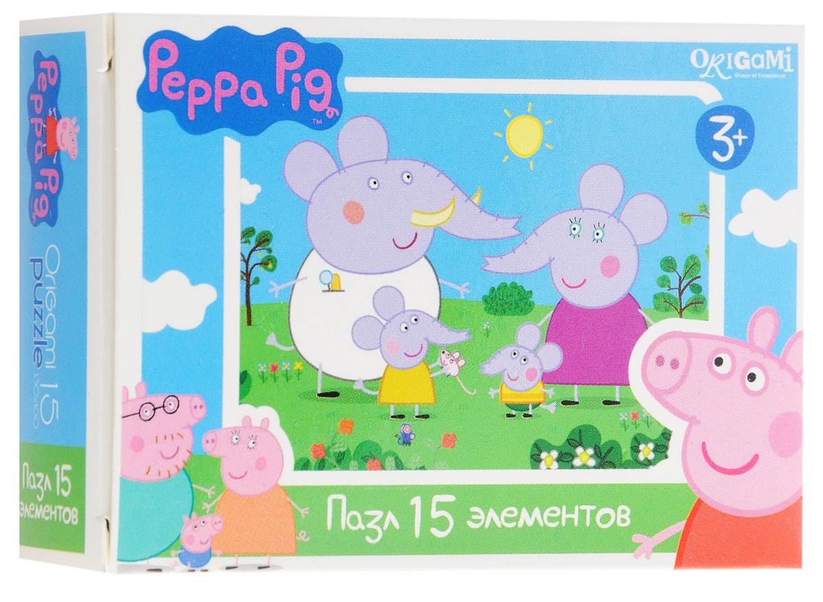 Оригами Мини-пазл Peppa Pig Слоны 01593AST000000000181837_слонМини-пазл Оригами Peppa Pig. Слоны - это хороший способ в ненавязчивой форме развивать у ребёнка мелкую моторику рук, пространственное мышление. Детали пазла изготовлены из плотно спрессованного картона, а верхний слой представлен заламинированной картинкой с красочным изображением героев мультсериала Свинка Пеппа. Размер собранного пазла: 13 см х 18 см.