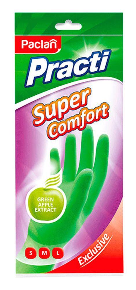 """Пара резиновых перчаток Paclan """"Practi Super Comfort"""", цвет: зеленый. Размер S"""