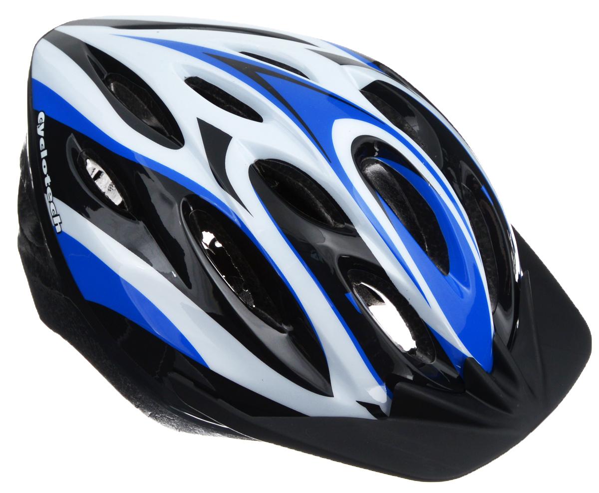 Шлем защитный Cyclotech, для занятий велоспортом, цвет: черный, белый, синий. Размер LCHLO-14MLЗащитный шлем Cyclotech, предназначенный для занятий велоспортом, изготовлен по технологии Out-Mold, которая обеспечивает хорошее соотношение цены и качества. Шлем снабжен универсальным внутренним настроечным кольцом, застежками на липучках, регулируемыми текстильными ремешками, подстежкой и вентиляционными отверстиями. Увеличенное количество вентиляционных отверстий гарантирует отличную циркуляцию воздуха на разных скоростях движения при сохранении жесткости. Подстежка изготовлена из пенополистирола. Ее роль заключается в рассеивании энергии при ударе, что защищает голову. Верхняя часть шлема, выполненная из прочного пластика, препятствует разрушению изделия, защищает шлем от прокола и позволять ему скользить при ударах. Способность шлема скользить по поверхности является важной его характеристикой, так как при падении движение уменьшается не сразу, а постепенно, снижая тем самым нагрузку на голову и шею. Шлем Cyclotech...