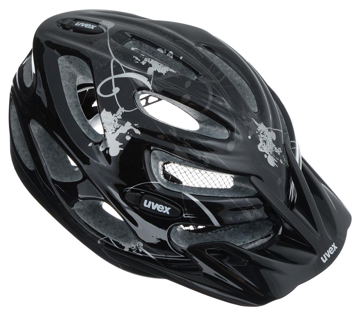 Шлем летний Uvex Onyx, цвет: черный, серебристый. Размер XXS-S4543.2515Шлем Uvex Onyx конструкции Inmould предназначен исключительно для езды на велосипеде и катания на роликовых коньках или скейтборде. Шлем снабжен универсальным внутренним настроечным кольцом, застежками на липучках, регулируемыми текстильными ремешками и вентиляционными отверстиями. Увеличенное количество вентиляционных отверстий гарантирует отличную циркуляцию воздуха на разных скоростях движения при сохранении жесткости. Подстежка изготовлена из пенополистирола. Ее роль заключается в рассеивании энергии при ударе, что защищает голову. Верхняя часть шлема, выполненная из прочного пластика, препятствует разрушению изделия, защищает шлем от прокола и позволять ему скользить при ударах. Способность шлема скользить по поверхности является важной его характеристикой, так как при падении движение уменьшается не сразу, а постепенно, снижая тем самым нагрузку на голову и шею. Надежный шлем с ярким дизайном обеспечит высокую степень защиты...