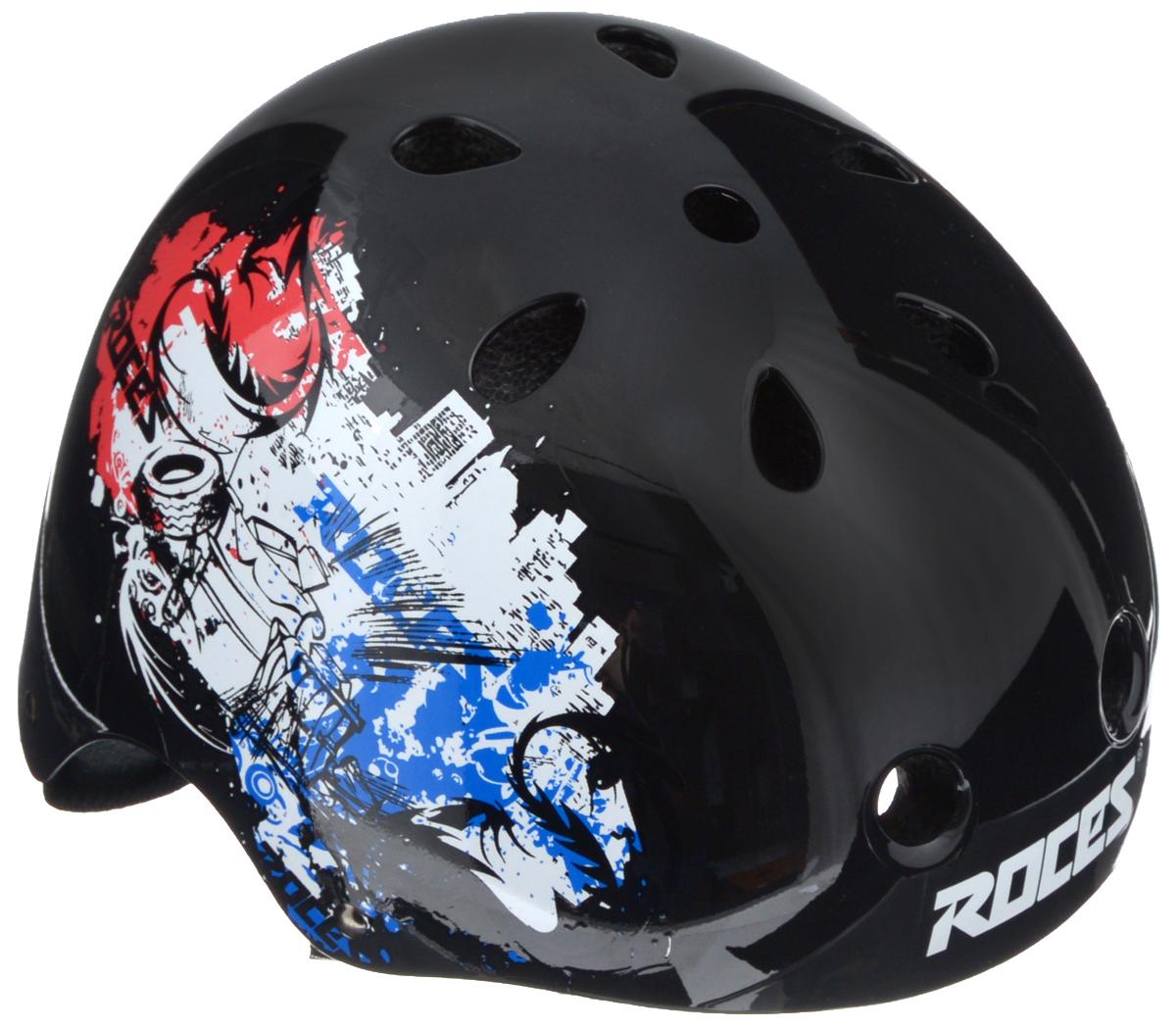 Шлем летний Roces CE Metropolis Aggressive, детский, цвет: черный, красный, белый. Размер M301430-B-MДетский шлем Roces CE Metropolis Aggressive предназначен исключительно для езды на велосипеде и катания на роликовых коньках или скейтборде. Шлем снабжен универсальным внутренним настроечным кольцом, застежками на липучках, регулируемыми текстильными ремешками и вентиляционными отверстиями. Увеличенное количество вентиляционных отверстий гарантирует отличную циркуляцию воздуха на разных скоростях движения при сохранении жесткости. Подстежка изготовлена из пенополистирола. Ее роль заключается в рассеивании энергии при ударе, что защищает голову. Верхняя часть шлема, выполненная из прочного пластика, препятствует разрушению изделия, защищает шлем от прокола и позволять ему скользить при ударах. Способность шлема скользить по поверхности является важной его характеристикой, так как при падении движение уменьшается не сразу, а постепенно, снижая тем самым нагрузку на голову и шею. Надежный шлем с ярким дизайном обеспечит высокую ...