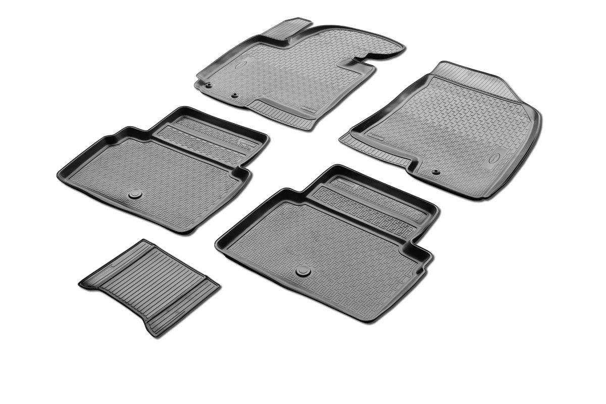 Набор автомобильных ковриков Rival, для Hyundai ix35 2010-, в салон, с перемычкой, 4 шт0012304001Прочные и долговечные коврики Rival, изготовленные из высококачественного и экологичного сырья, полностью повторяют геометрию салона вашего автомобиля. - Надежная система крепления, позволяющая закрепить коврик на штатные элементы фиксации, в результате чего отсутствует эффект скольжения по салону автомобиля. - Высокая стойкость поверхности к стиранию. - Специализированный рисунок и высокий борт, препятствующие распространению грязи и жидкости по поверхности ковра. - Перемычка задних ковров в комплекте предотвращает загрязнение тоннеля карданного вала. - Коврики произведены из первичных материалов, в результате чего отсутствует неприятный запах в салоне автомобиля. - Высокая эластичность материала позволяет беспрепятственно эксплуатировать коврики при температуре от -45°C до +45°C.
