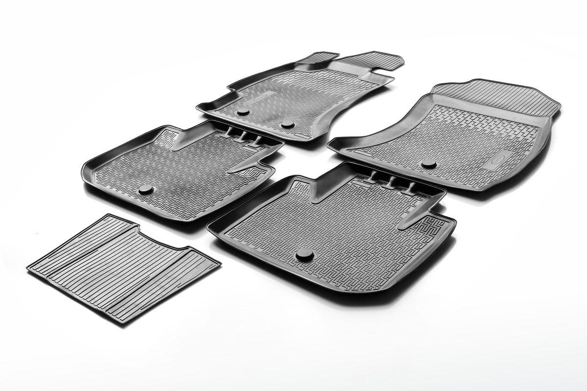 Набор автомобильных ковриков Rival, для Hyundai Santa Fe III 2012-, в салон, с перемычкой, 4 шт0012306002Прочные и долговечные коврики Rival, изготовленные из высококачественного и экологичного сырья, полностью повторяют геометрию салона вашего автомобиля. - Надежная система крепления, позволяющая закрепить коврик на штатные элементы фиксации, в результате чего отсутствует эффект скольжения по салону автомобиля. - Высокая стойкость поверхности к стиранию. - Специализированный рисунок и высокий борт, препятствующие распространению грязи и жидкости по поверхности ковра. - Перемычка задних ковров в комплекте предотвращает загрязнение тоннеля карданного вала. - Коврики произведены из первичных материалов, в результате чего отсутствует неприятный запах в салоне автомобиля. - Высокая эластичность материала позволяет беспрепятственно эксплуатировать коврики при температуре от -45°C до +45°C.