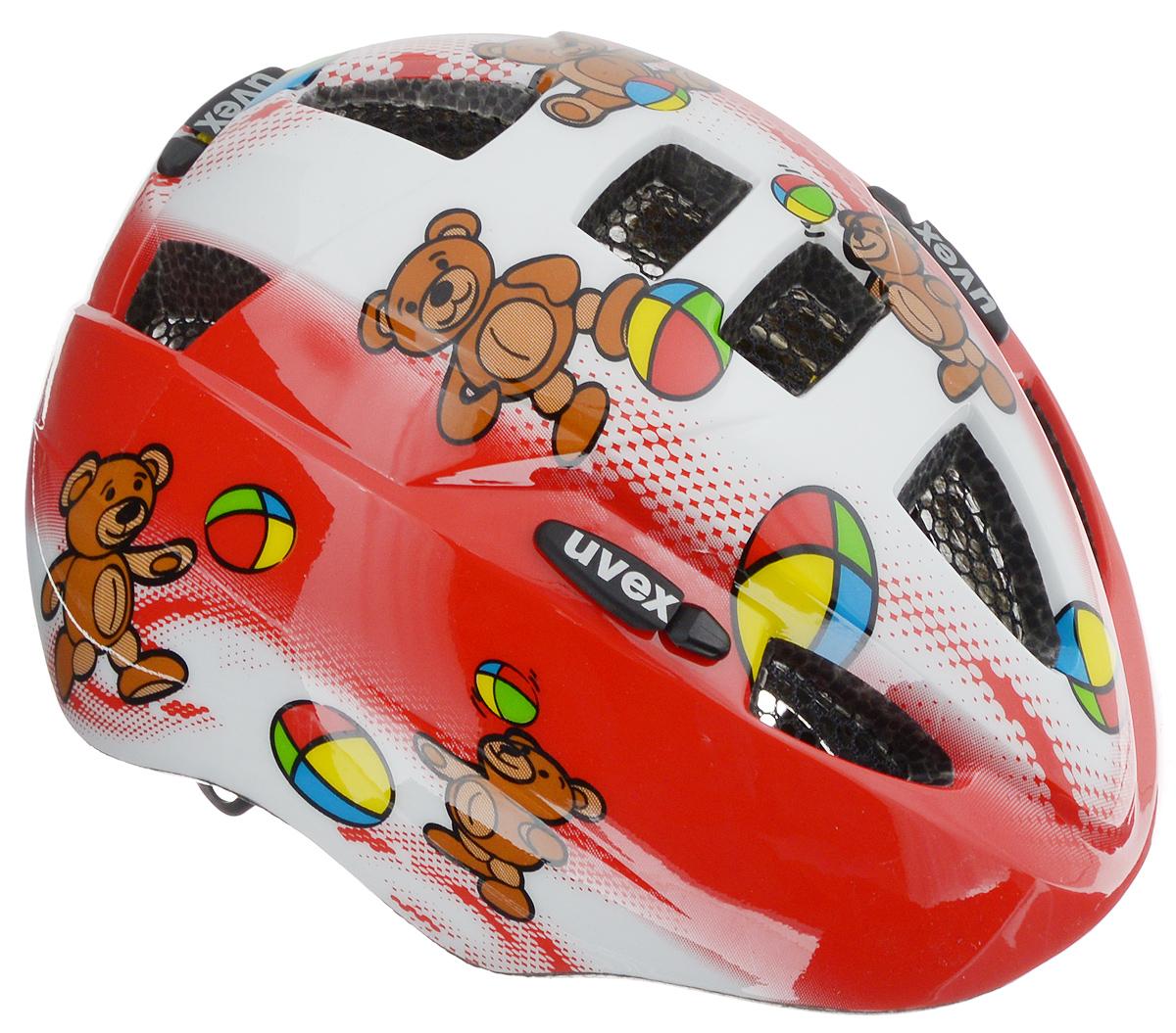 Шлем летний Uvex Kid 2. Медведи, детский, цвет: белый, красный, черный. Размер XXXXXS-XXS4306.1415Детский шлем Uvex Kid 2. Медведи предназначен исключительно для езды на велосипеде и катания на роликовых коньках или скейтборде. Шлем снабжен универсальным внутренним настроечным кольцом, застежками на липучках, регулируемыми текстильными ремешками и вентиляционными отверстиями. Увеличенное количество вентиляционных отверстий гарантирует отличную циркуляцию воздуха на разных скоростях движения при сохранении жесткости. Подстежка изготовлена из пенополистирола. Ее роль заключается в рассеивании энергии при ударе, что защищает голову. Верхняя часть шлема, выполненная из прочного пластика, препятствует разрушению изделия, защищает шлем от прокола и позволять ему скользить при ударах. Способность шлема скользить по поверхности является важной его характеристикой, так как при падении движение уменьшается не сразу, а постепенно, снижая тем самым нагрузку на голову и шею. Надежный шлем с ярким дизайном обеспечит высокую степень защиты...