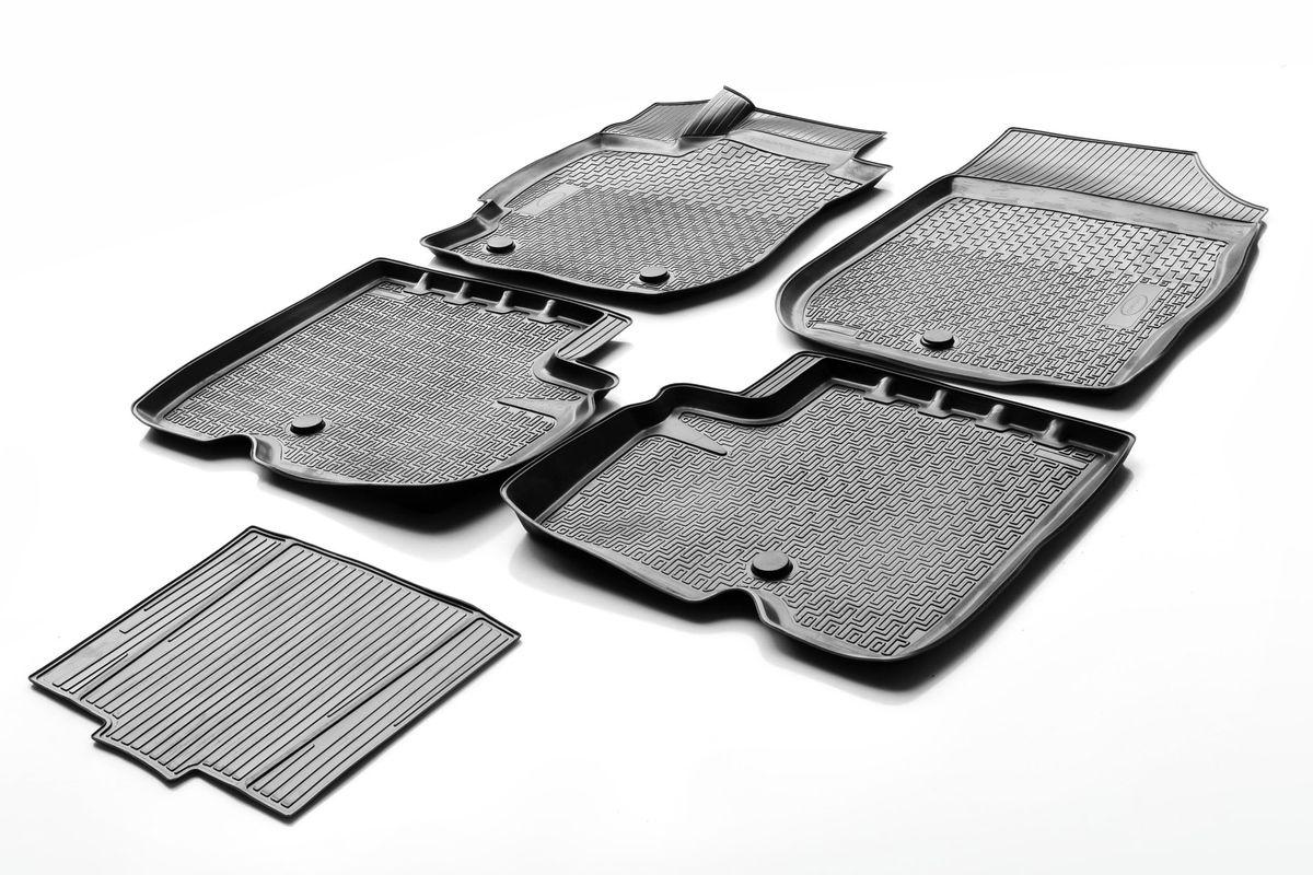Набор автомобильных ковриков Rival, для Nissan Almera 2013-, в салон, с перемычкой, 4 шт0014101001Прочные и долговечные коврики Rival, изготовленные из высококачественного и экологичного сырья, полностью повторяют геометрию салона вашего автомобиля. - Надежная система крепления, позволяющая закрепить коврик на штатные элементы фиксации, в результате чего отсутствует эффект скольжения по салону автомобиля. - Высокая стойкость поверхности к стиранию. - Специализированный рисунок и высокий борт, препятствующие распространению грязи и жидкости по поверхности ковра. - Перемычка задних ковров в комплекте предотвращает загрязнение тоннеля карданного вала. - Коврики произведены из первичных материалов, в результате чего отсутствует неприятный запах в салоне автомобиля. - Высокая эластичность материала позволяет беспрепятственно эксплуатировать коврики при температуре от -45°C до +45°C.