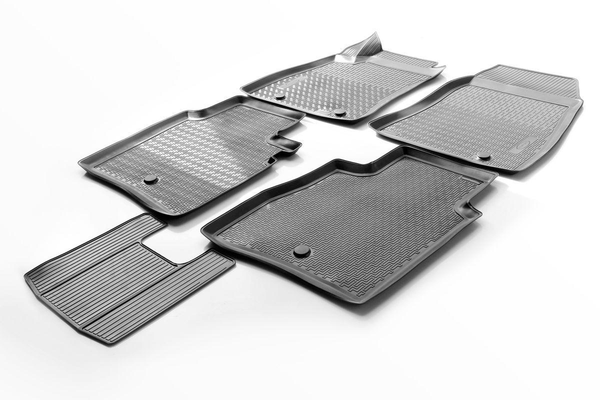 Коврики салона Rival для Nissan Sentra 2014-, c перемычкой, полиуретан0014106001Прочные и долговечные коврики Rival в салон автомобиля, изготовлены из высококачественного и экологичного сырья, полностью повторяют геометрию салона вашего автомобиля. - Надежная система крепления, позволяющая закрепить коврик на штатные элементы фиксации, в результате чего отсутствует эффект скольжения по салону автомобиля. - Высокая стойкость поверхности к стиранию. - Специализированный рисунок и высокий борт, препятствующие распространению грязи и жидкости по поверхности коврика. - Перемычка задних ковриков в комплекте предотвращает загрязнение тоннеля карданного вала. - Произведены из первичных материалов, в результате чего отсутствует неприятный запах в салоне автомобиля. - Высокая эластичность, можно беспрепятственно эксплуатировать при температуре от -45 ?C до +45 ?C. Уважаемые клиенты! Обращаем ваше внимание, что коврики имеет форму соответствующую модели данного автомобиля. Фото служит для визуального восприятия товара.