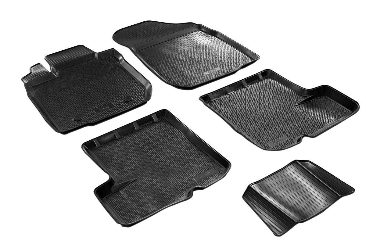 Набор автомобильных ковриков Rival, для Renault Sandero 2014-, в салон, с перемычкой, 4 шт0014703001Прочные и долговечные коврики Rival, изготовленные из высококачественного и экологичного сырья, полностью повторяют геометрию салона вашего автомобиля. - Надежная система крепления, позволяющая закрепить коврик на штатные элементы фиксации, в результате чего отсутствует эффект скольжения по салону автомобиля. - Высокая стойкость поверхности к стиранию. - Специализированный рисунок и высокий борт, препятствующие распространению грязи и жидкости по поверхности ковра. - Перемычка задних ковров в комплекте предотвращает загрязнение тоннеля карданного вала. - Коврики произведены из первичных материалов, в результате чего отсутствует неприятный запах в салоне автомобиля. - Высокая эластичность материала позволяет беспрепятственно эксплуатировать коврики при температуре от -45°C до +45°C.